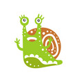 funny snail character raising its hands cute vector image vector image