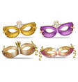 golden and purple masks set collection vector image