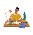 guy writer writes hand on paper workplace desk vector image