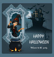 halloween poster with a beautiful witch vector image vector image