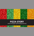 hexagon pattern set pizza story seamless vector image