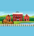 horse at farmland scene vector image vector image