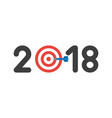 icon concept of year of 2018 with bulls eye and vector image vector image