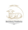 isolated vintage gold emblem for farm with lamb vector image