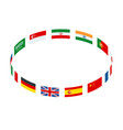 isometric round frame made world flags isolated vector image