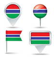 Map pins with flag of Gambia vector image vector image