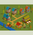 medieval settlement isometric composition vector image vector image