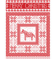 Merry christmas card with dala horse vector image vector image