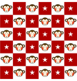 Monkey Star Red White Chess Board Background vector image