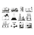 monochrome black icon set for petroleum industry vector image vector image
