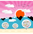Nature Paper Mountains with Clouds Sun Pink Sky vector image vector image