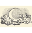 Night sky moon in the clouds hand drawing vector image vector image