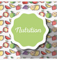 nutrition symbol emblem with fruits background vector image vector image
