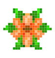 orange pixel flower vector image