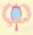 pink mirror crown jewelry ballet decoration vector image vector image