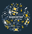 quadrocopters round pattern air drones and remote vector image vector image