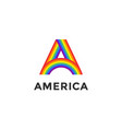 rainbow letter a and text america vector image