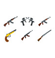rifle icon set flat style vector image vector image