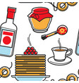 russian food and drink seamless pattern travel to vector image