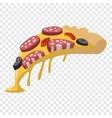 Salami pizza slice vector image vector image