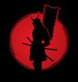 samurai warrior standing with flag katana sword vector image vector image