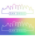 san diego skyline colorful linear style vector image vector image