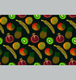 seamless pattern with fruits on green background vector image vector image