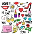 Set of fashion patches elements vector image