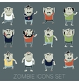 Set of zombie cartoon icons3 vector image vector image