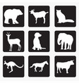 silhouettes animals 4 vector image vector image