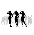 silhouettes of three army girls in retro style vector image vector image