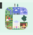 simple things - forest set composition on a mint vector image