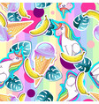 summer seamless pattern with unicorn vector image vector image