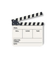 white film clapperboard slate realistic vector image