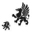winged gryphon mythical animal ancient emblems vector image