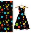 women dress fabric pattern with buttons vector image vector image
