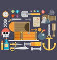 pirate accessories symbols flat icons collection vector image