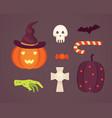 set halloween in cartoon vector image