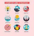 startup and strategy web busines icon set for vector image