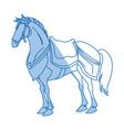 drawing horse of warrior samurai animal vector image