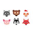 set carnival masks animals vector image
