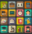 Set of flat school icons on a color background vector image