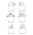 animals with cards black and white set vector image vector image