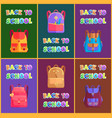 back to school goods poster with bags for kids vector image vector image