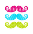 beautiful colored mustache with different patterns vector image