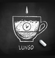 black and white sketch of lungo coffee vector image vector image