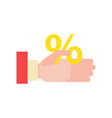 businessmans hand holds a percentage discount vector image vector image