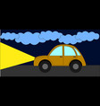 car driving at night on white background vector image