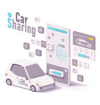car sharing and hire app concept vector image vector image