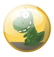 cartoon character of a green dinosaur smiling in vector image